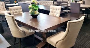 -Dining Table- Double pedestal table with 4 beige linen chairs- for Sale in Fontana, CA