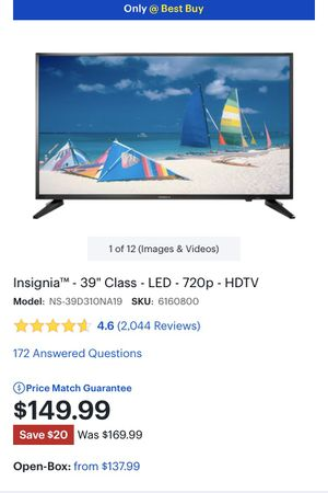 Insignia TV 39 inch. 60 HTZ. (In Box, haven't opened) for Sale in Manassas, VA