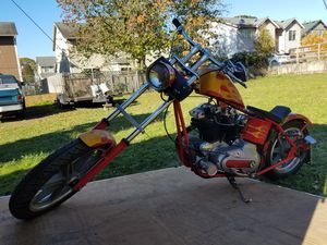 Chopper Harley Davidson Red with Orange Flames for Sale in Federal Way, WA