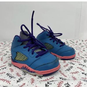 Nike 440890 307 Jordan V 5 Retro Teal Purple Pink Toddler Shoes Sneakers Sz4C for Sale in Peoria, IL