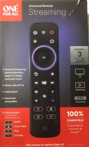 One for All Universal Remote Streaming for Roku, Apple TV, Nvidia, TVs, Sound Bar Etc. for Sale in Irwindale, CA