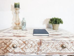 Newly refinished white rustic Indian Hipster desk for Sale in Oakland Park, FL