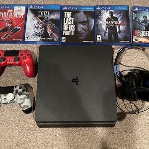 PS4 Slim Bundle 2 Controllers 6 Games Turtle Beach headset for Sale in Northville, MI