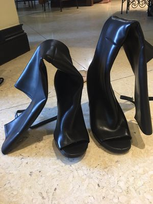Black leather Nasty Gal peep toe thigh high boots Size 8.5 for Sale in Miami, FL
