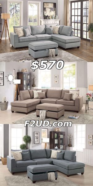 Blue gray, mocha and slate polyfiber fabric sofa Sectional with storage Ottoman for Sale in Ontario, CA