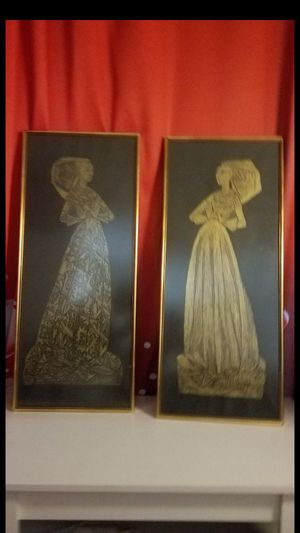 "2 Incredible Lady Margaret Denton Repro Monumental Plaque Brass Rubbing Medieval 34""x14"" for Sale in Upland, CA"