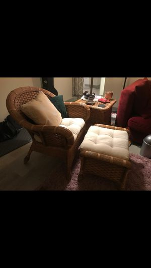 Rattan chair & footstool for Sale in Fairview, OR