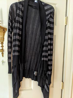 CALVIN KLEIN CARDIGAN BLACK AND GREY WITH A TOUCH OF METALIC for Sale in Stratford, CT