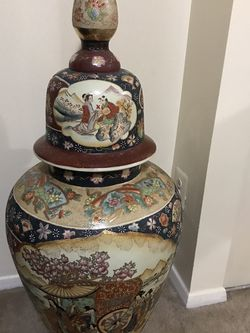 "Available Huge Large Heavy Porcelain Satsuma Vase With Led Not Average Size 42""H50""Stunning Had Painted Gold With Glazed Enamel Figures Cash Only for Sale in Gaithersburg,  MD"