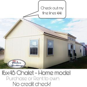16x44 Chalet, Shed to home model shell w upgrades. Purchase or Rent to own. No credit check! $730 mo!! for Sale in Manor, TX