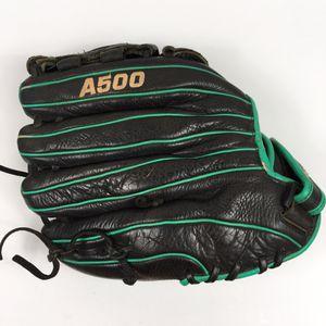 Wilson A500 RHT Black Leather Green trim baseball glove mitt 12'' for Sale in Honolulu, HI
