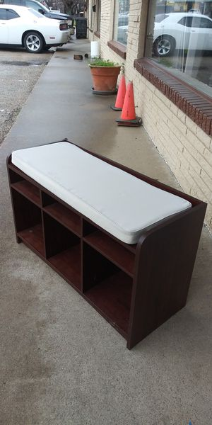 Padded Bench With Storage Shelves for Sale in Lancaster, TX