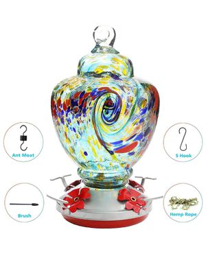 Hummingbird Feeder,Glass Bird Feeder with Color Hand Blown Glass for Sale in Houston, TX