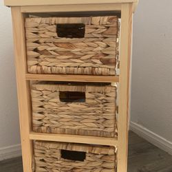 Wooden Side Table With Baskets for Sale in Perris,  CA