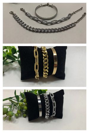 Punk Style 3pcs/Set Curb Cuban Multilayer Link chain bracelet, Gold and Silver Color (2 Sets) for Sale in Irvine, CA