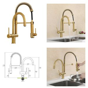 GICASA Kitchen Faucet, Commercial Pull Down Kitchen Sink Faucet with Sprayer, Double Faucets Design Brushed Gold Single for Sale in Dover, DE