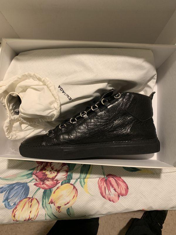 BALENCIAGA Black Leather Arenas size 11