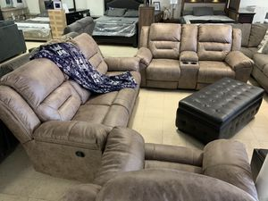 Sofa and love 💕 4 Recliners Take it home today Romeo's 2 Pc Furniture downtown Madera for Sale in Madera, CA