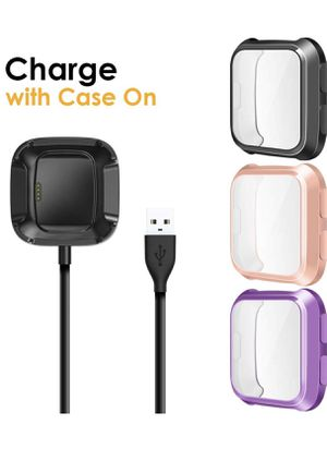 Fitbit verse charger set 3 cases with screen protector for Sale in San Bernardino, CA