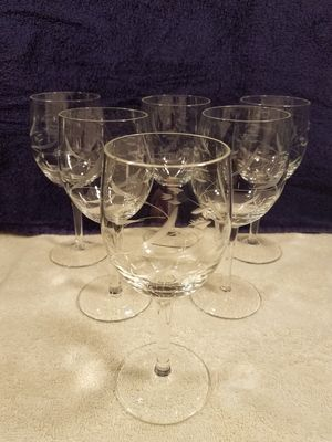 10x Princess house - etched crystal - wine glasses - collectable vintage glass for Sale in Las Vegas, NV