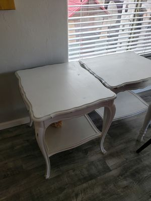 2 white French side tables farmhouse for Sale in Tucson, AZ