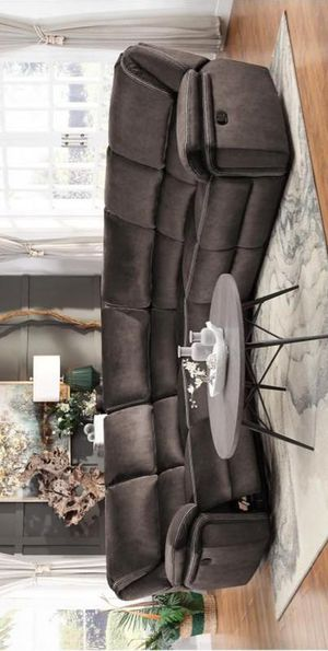 XY.Bronagh Velvet Chocolate Reclining Sectional for Sale in Jessup, MD
