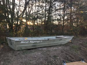 14' sea nymph Jon boat with trolling motor, will consider trades on chainsaws, tools, landscape equipment, etc. great Jon boat. I have no use for it for Sale in Greensboro, NC