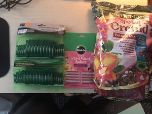 Orchid plant food spikes, 2 20 pc green gardening clips, potting mix for Sale in Colesville, MD