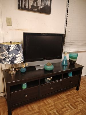 """Nice solid wood black TV stand with 3 drawers and shelves for big TVs in very good condition, all drawers sliding smoothly, 23"""" for Sale in Annandale, VA"""