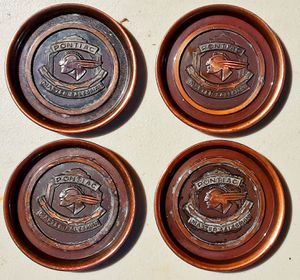 Hyde park bronze 1940s PONTIAC automobile master salesman award advertising coasters x 4 for Sale in Saginaw, MI
