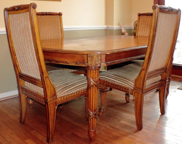 Wood Table with 4 Upholstered Chairs