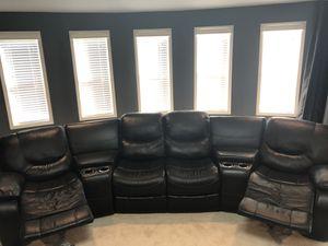 Black Leather Sectional for Sale in Atlanta, GA