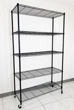 "New $90 Metal 5-Shelf Shelving Storage Unit Wire Organizer Rack Adjustable w/ Wheel Casters 48x18x82"" for Sale in South El Monte, CA"