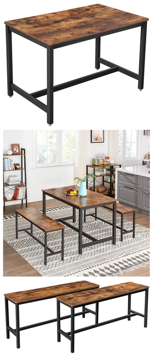 New In Box, Dining Kitchen Table for 4 People 47.2 x 29.5 x 29.5 Inches with Pair of 2, Industrial Style Indoor Benches 42.5 x 12.8 x 19.7 Inches for Sale in Chino, CA