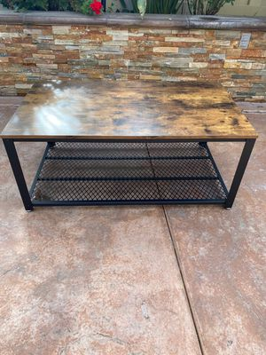 Industrial Coffee Table with Storage Shelf for Living Room, Wood Look Accent Furniture with Metal Frame, Easy Assembly, Rustic Brown for Sale in Chino, CA