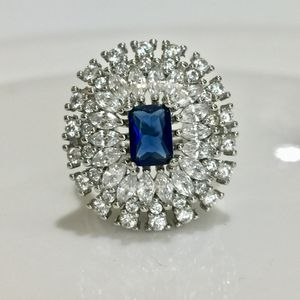 925 stamped sterling silver plated sapphire ring size 6 jewelry accessory for Sale in Spencerville, MD
