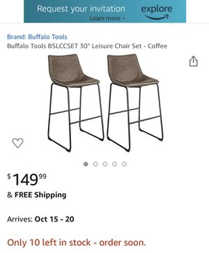 Brand New (In Box) Carbon Loft Inyo Vintage PU Leather Counter-height Stools (Set of 2) - Coffee color for Sale in Maryland Heights, MO
