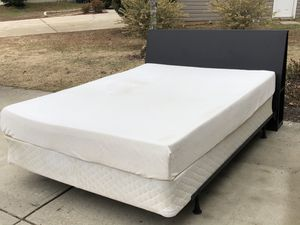 Queen Size Bed with Headboard, Memory foam Mattress, boxspring and Rail. Very good condition. Delivery available. Hablar espanol for Sale in Raleigh, NC