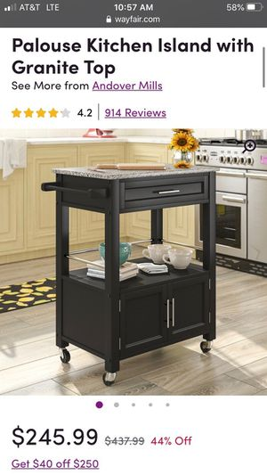 Kitchen island microwave cart for Sale in Denver, CO