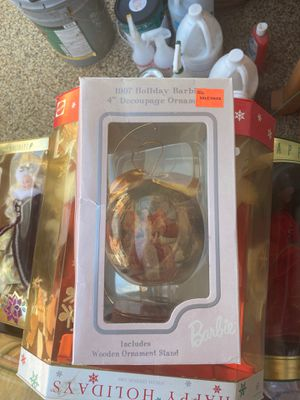 Holiday Barbie ornament with wood stand for Sale in Upland, CA