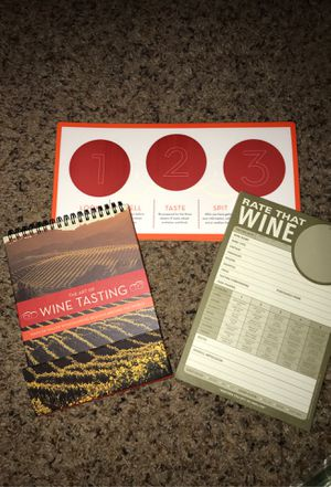 Wine Gift Set - The Art of Wine Tasting book - Rate That Wine Notepad - 3-wine glass tasting placemats (6 mats total) GREAT GIFT IDEA!!! for Sale in Clovis, CA