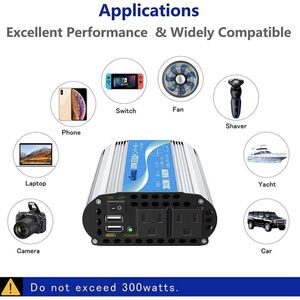 300Watt Pure Sine Wave Car Power Inverter 12V DC to 120V AC 4.8A Dual USB AC outlets Tablets Laptops Smartphones for Sale in Rancho Cucamonga, CA