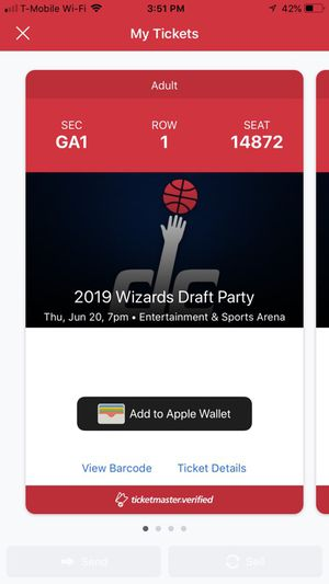 Exclusive NBA Wizards Draft Party Tickets for Sale in Lorton, VA