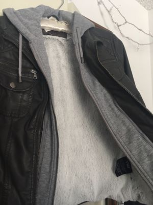 Layered Look Jacket: Faux Leather w/ gray hoodie combo for Sale in Denver, CO