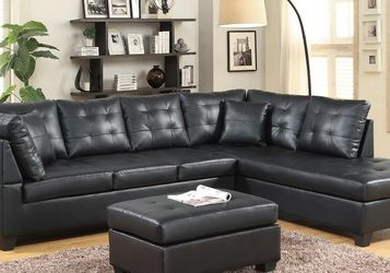 New! Black Contemporary Sectional and Ottoman *FREE SAME-DAY DELIVERY* for Sale in Columbia,  MD