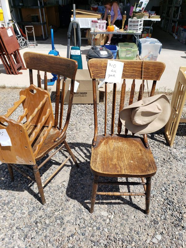5 antique wood chairs