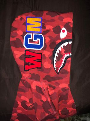 Bape Full Zip Shark Hoodie Red Camo for Sale in Brooklyn, NY