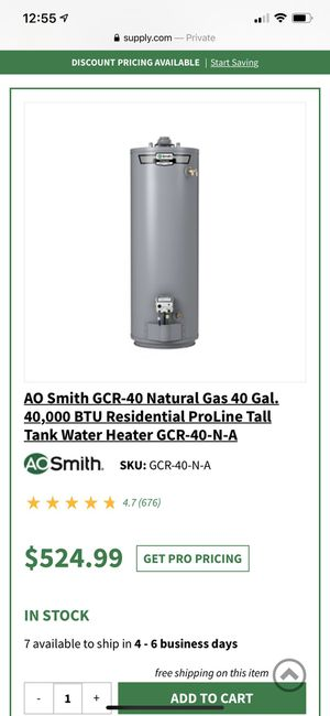AO Smith 40 Gal Gas water heater Brand New In BOX for Sale in Queens, NY