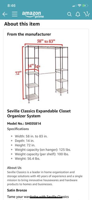 Expandable Closet Organizer for Sale in San Diego, CA