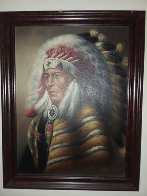 Oil indian chief signed picture framed for Sale in Lancaster, PA